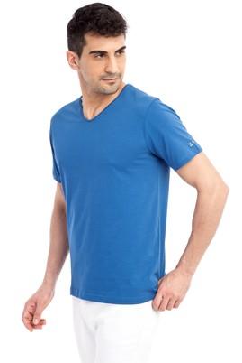 Erkek Giyim - Mavi 3X Beden V Yaka Nakışlı Regular Fit Tişört