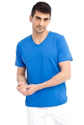 Erkek Giyim - KOYU MAVİ L Beden V Yaka Nakışlı Regular Fit Tişört