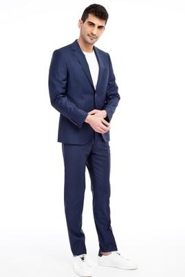 Erkek Giyim - Lacivert 44 Beden Slim Fit Çizgili Takım Elbise