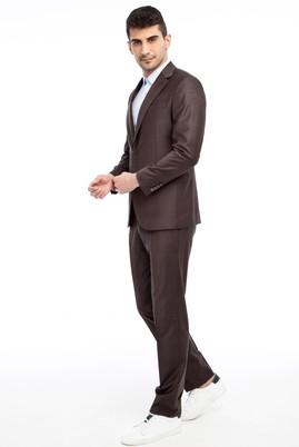Erkek Giyim - Kahve 44 Beden Slim Fit Kareli Takım Elbise