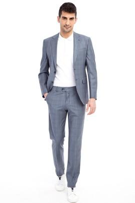 Erkek Giyim - Orta füme 52 Beden Slim Fit Ekose Takım Elbise