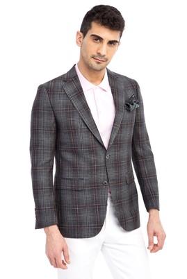 Erkek Giyim - Füme Gri 54 Beden Ekose Ceket