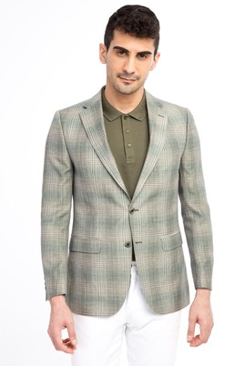 Erkek Giyim - Acık Yesıl 46 Beden Klasik Ekose Ceket