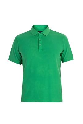 Erkek Giyim - Acık Yesıl XXL Beden Regular Fit Desenli Polo Yaka Tişört