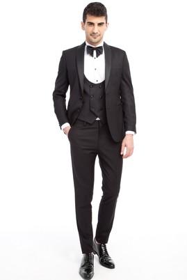 Erkek Giyim - Siyah 50 Beden Slim Fit Şal Yaka Desenli Smokin / Damatlık
