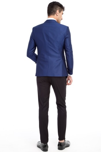 Slim Fit Sivri Yaka Desenli Smokin / Damatlık