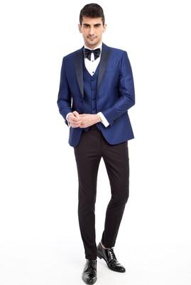 Erkek Giyim - Mavi 46 Beden Slim Fit Sivri Yaka Desenli Smokin / Damatlık