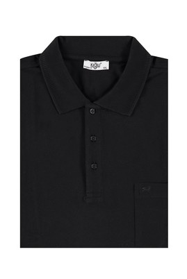 Erkek Giyim - Siyah 5X Beden King Size Polo Yaka Regular Fit Tişört