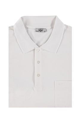 Erkek Giyim - Beyaz 6X Beden King Size Polo Yaka Regular Fit Tişört