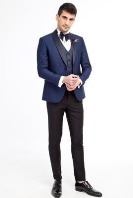 Erkek Giyim - Mavi 48 Beden Slim Fit Şal Yaka Desenli Smokin / Damatlık
