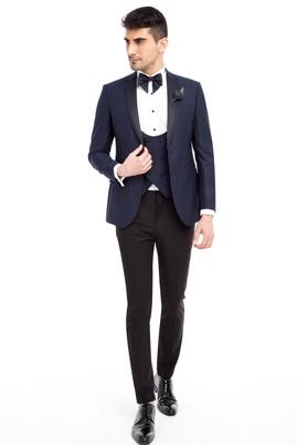 Erkek Giyim - Lacivert 52 Beden Slim Fit Mono Yaka Desenli Smokin / Damatlık