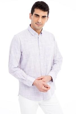 Erkek Giyim - Mor 4X Beden Uzun Kol Spor Gömlek