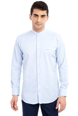 Erkek Giyim - Açık Mavi L Beden Uzun Kol Spor Gömlek