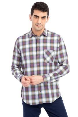 Erkek Giyim - Mor 3X Beden Uzun Kol Ekose Gömlek