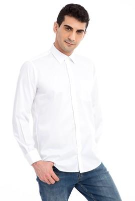 Erkek Giyim - Beyaz XL Beden Uzun Kol Non Iron Saten Klasik Gömlek