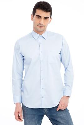 Erkek Giyim - AÇIK MAVİ L Beden Uzun Kol Non Iron Saten Klasik Gömlek