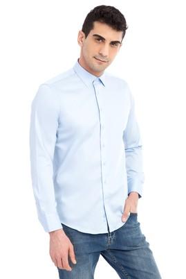 Erkek Giyim - Açık Mavi XS Beden Uzun Kol Slim Fit Non Iron Saten Gömlek