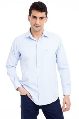 Erkek Giyim - Açık Mavi XL Beden Uzun Kol Desenli Klasik Gömlek