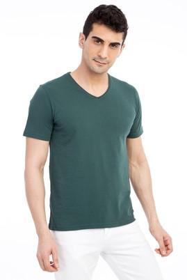 Erkek Giyim - KOYU YESİL M Beden V Yaka Nakışlı Regular Fit Tişört