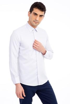 Erkek Giyim - Lila L Beden Uzun Kol Desenli Gömlek