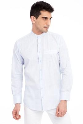 Erkek Giyim - Açık Mavi L Beden Uzun Kol Hakim Yaka Gömlek