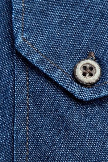 Erkek Giyim - Uzun Kol Regular Fit Denim Gömlek