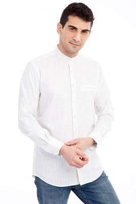 Erkek Giyim - Kum XL Beden Uzun Kol Hakim Yaka Gömlek