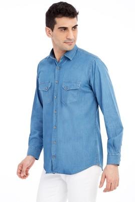 Erkek Giyim - Mavi 3X Beden Uzun Kol Denim Gömlek