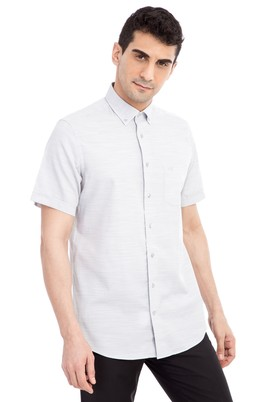 Erkek Giyim - Açık Gri M Beden Kısa Kol Desenli Gömlek