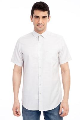 Erkek Giyim - Açık Kahve - Camel L Beden Kısa Kol Desenli Gömlek