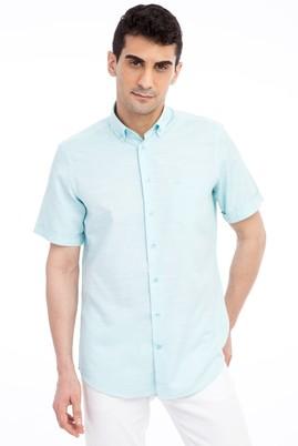 Erkek Giyim - Acık Yesıl XL Beden Kısa Kol Desenli Gömlek