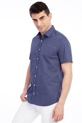 Erkek Giyim - Lacivert L Beden Kısa Kol Desenli Slim Fit Gömlek