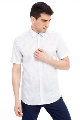 Erkek Giyim - Beyaz M Beden Kısa Kol Desenli Slim Fit Gömlek