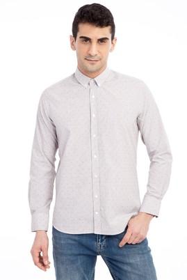 Erkek Giyim - Bej L Beden Uzun Kol Desenli Gömlek