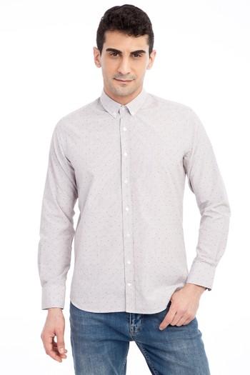 Erkek Giyim - Uzun Kol Slim Fit Desenli Gömlek