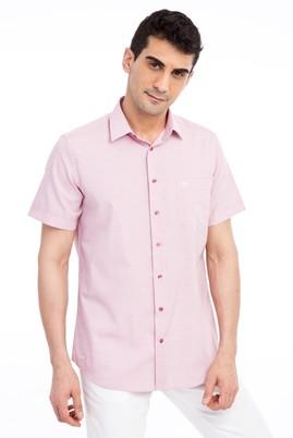 Erkek Giyim - KIRMIZI 3X Beden Kısa Kol Desenli Klasik Gömlek