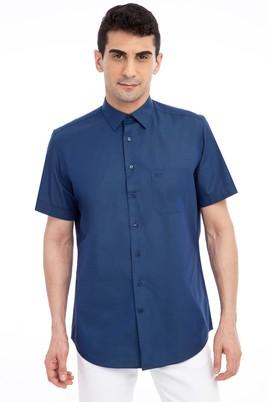 Erkek Giyim - Lacivert M Beden Kısa Kol Klasik Gömlek