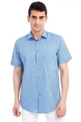 Erkek Giyim - Mavi M Beden Kısa Kol Klasik Gömlek