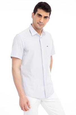 Erkek Giyim - Beyaz M Beden Kısa Kol Ekose Klasik Gömlek