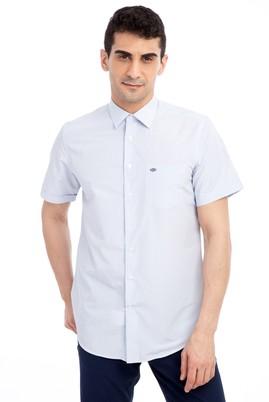 Erkek Giyim - Beyaz XXL Beden Kısa Kol Ekose Klasik Gömlek