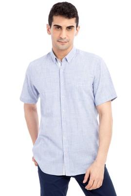 Erkek Giyim - Mavi XL Beden Kısa Kol Desenli Gömlek