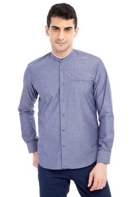 Erkek Giyim - Füme Gri XL Beden Uzun Kol Desenli Slim Fit Gömlek