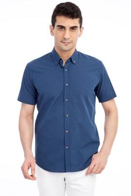 Erkek Giyim - Lacivert S Beden Kısa Kol Desenli Slim Fit Gömlek