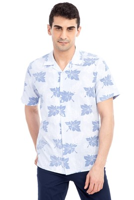 Erkek Giyim - Açık Mavi L Beden Kısa Kol Desenli Slim Fit Gömlek