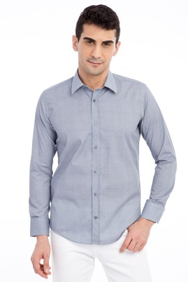 Erkek Giyim - Lacivert L Beden Uzun Kol Desenli Slim Fit Gömlek