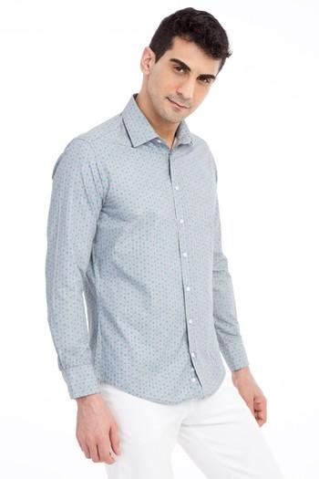 Erkek Giyim - Uzun Kol Regular Fit Baskılı Spor Gömlek
