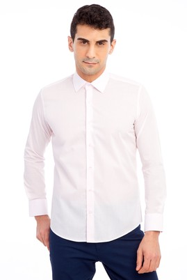 Erkek Giyim - Pembe M Beden Uzun Kol Slim Fit Gömlek