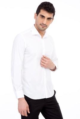 Erkek Giyim - Beyaz L Beden Uzun Kol Coolmax Slim Fit Gömlek