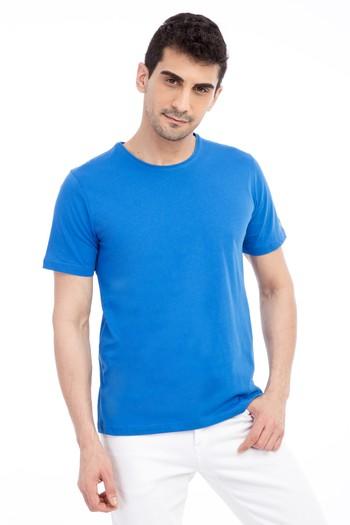 Erkek Giyim - Bisiklet Yaka Nakışlı Regular Fit Tişört
