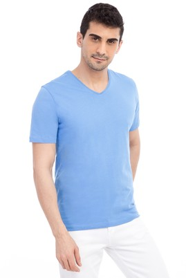 Erkek Giyim - Mavi XL Beden V Yaka Nakışlı Regular Fit Tişört